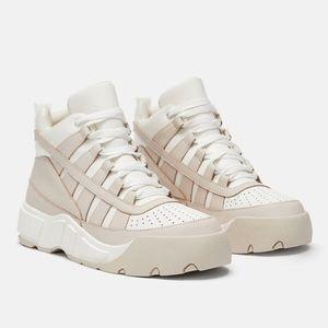 Zara Nude Leather High Top Platform Sneakers